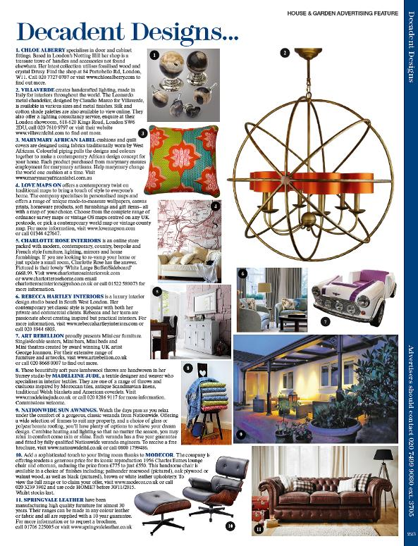 World of Interiors magazine - Decadent Designs section featuring my 'Moroccan Tiles' throws