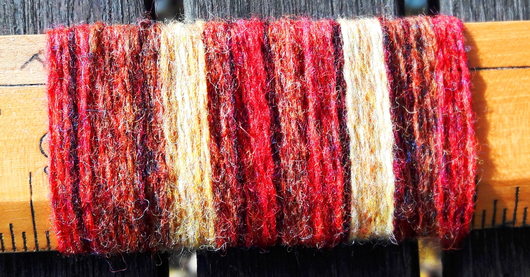 Autumn colours - colour wrap in 100% lambswool yarn