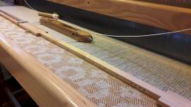 Classic Squares throw in yellow ochre - on the loom