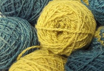 Bluefaced Leicester handspun yarn dyed with Hemp Agrimony and Indigo