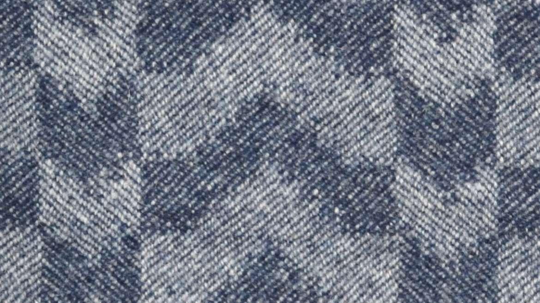 Closeup of 'Ikat' throw in soft indigo