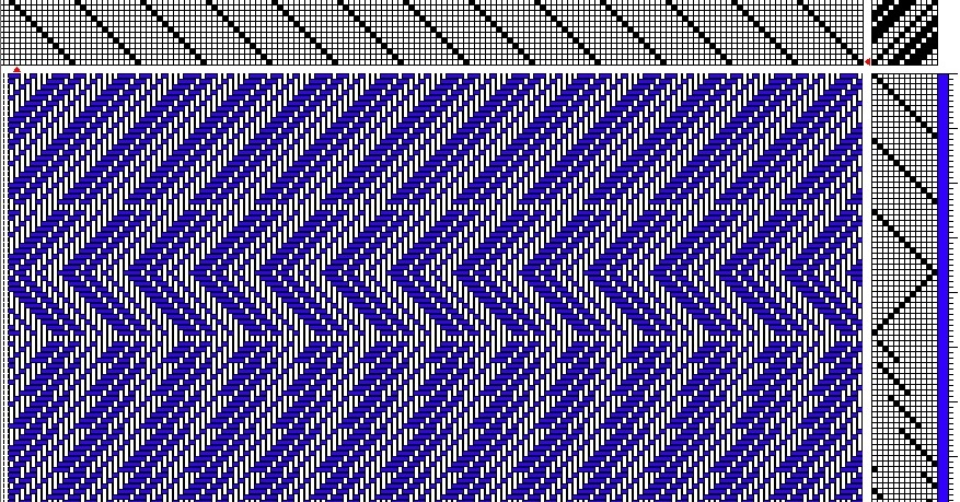 Sample weaving draft using specialist weaving design software