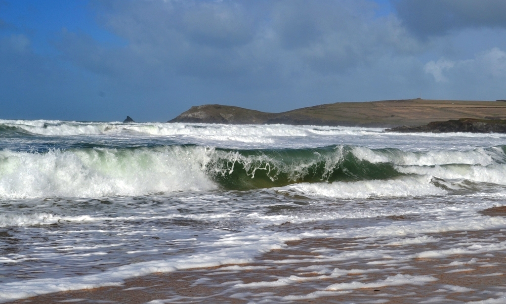 Rolling Surf on Booby's Bay looking out to Trevose Head