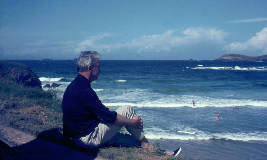 My father looking across to Trevose Head, 1960's (c) Madeleine Jude Ltd 2017