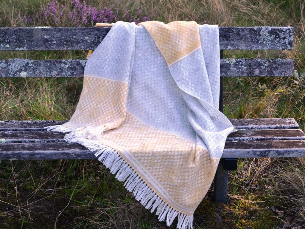 Blanket Shawl - Hardanger Crosses in grey and saffron