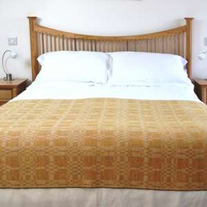 Coverlet throw in yellow ochre