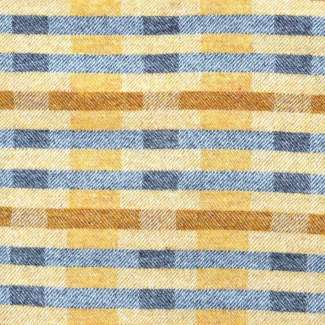 Lineal Opposites throw in shades of yellow ochre and grey