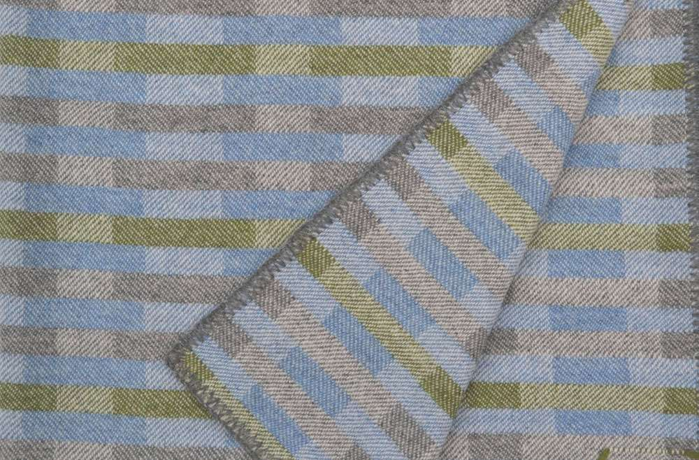 Handwoven 'Lineal' throw in blue, green and grey (1)