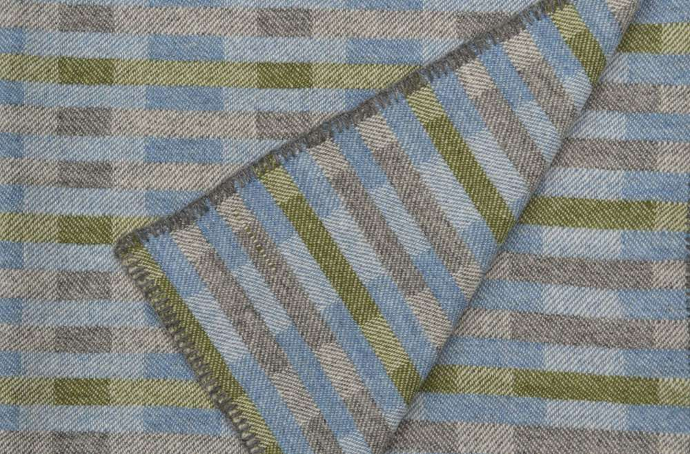 Handwoven 'Lineal' throw in blue, green and grey (2)