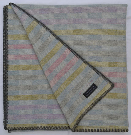 Handwoven 'Lineal' throw in mauve, pink, blue, green and grey (4)