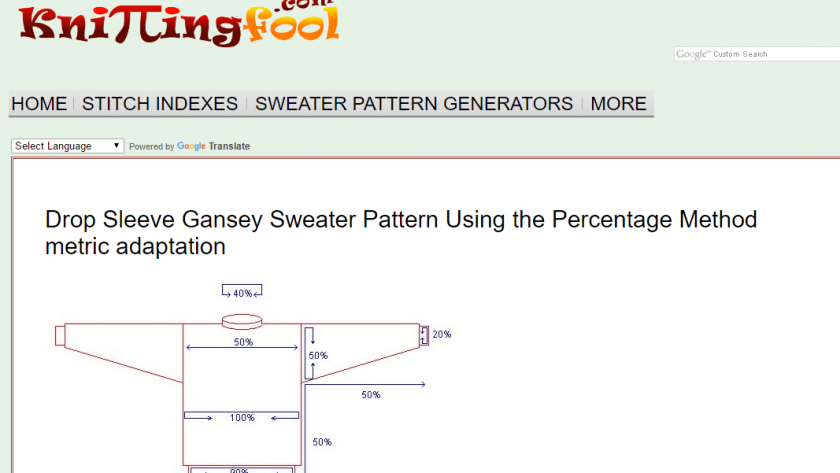 Knitting Fool's sweater pattern generator