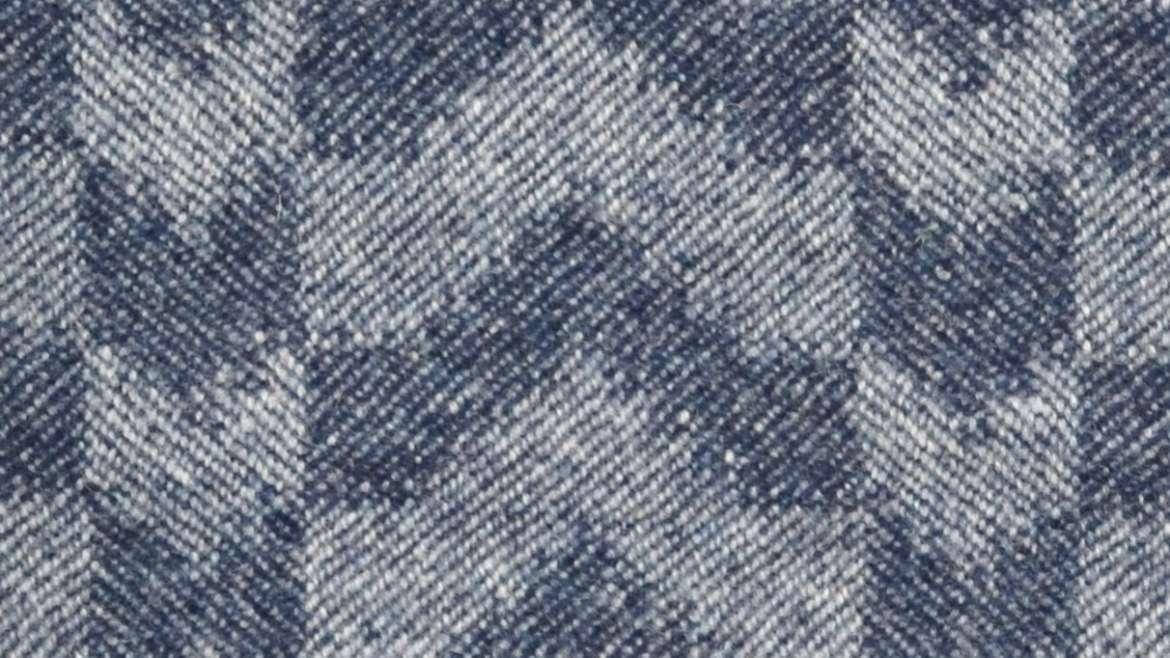 Closeup of 'Ikat' throw in soft indigo