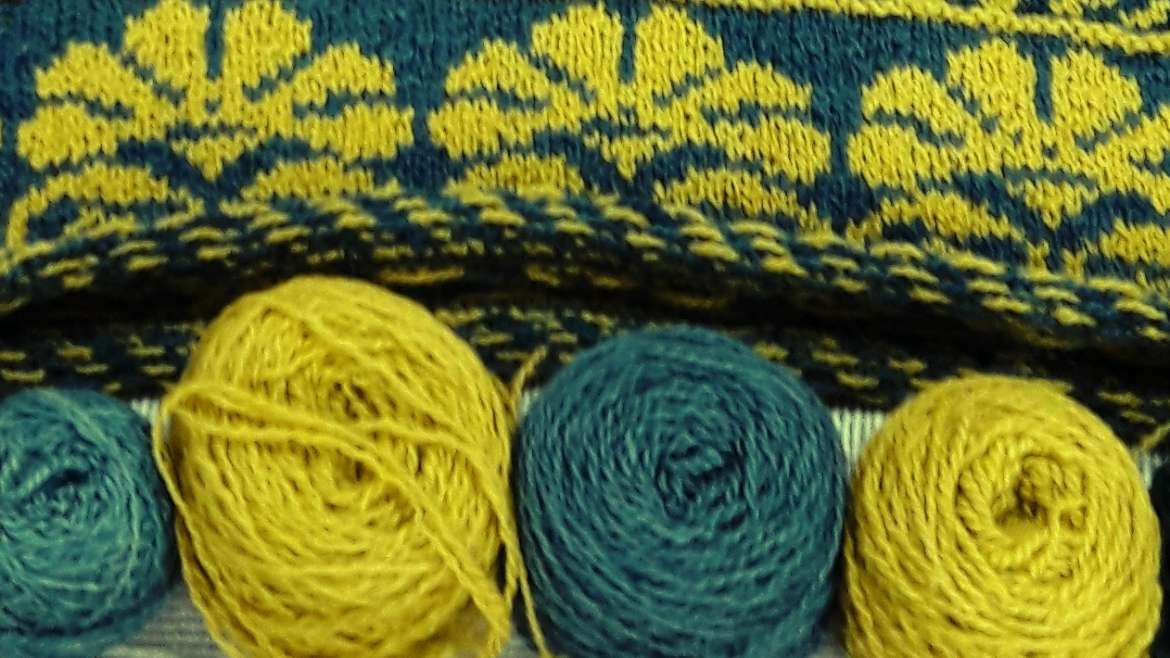 My handspun Bluefaced Leicester yarn naturally dyed with Indigo and Hemp Agrimony.