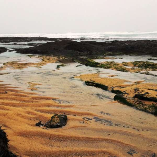 Rock pools and sand at Constantine Bay in 2017 (c) Madeleine Jude Ltd