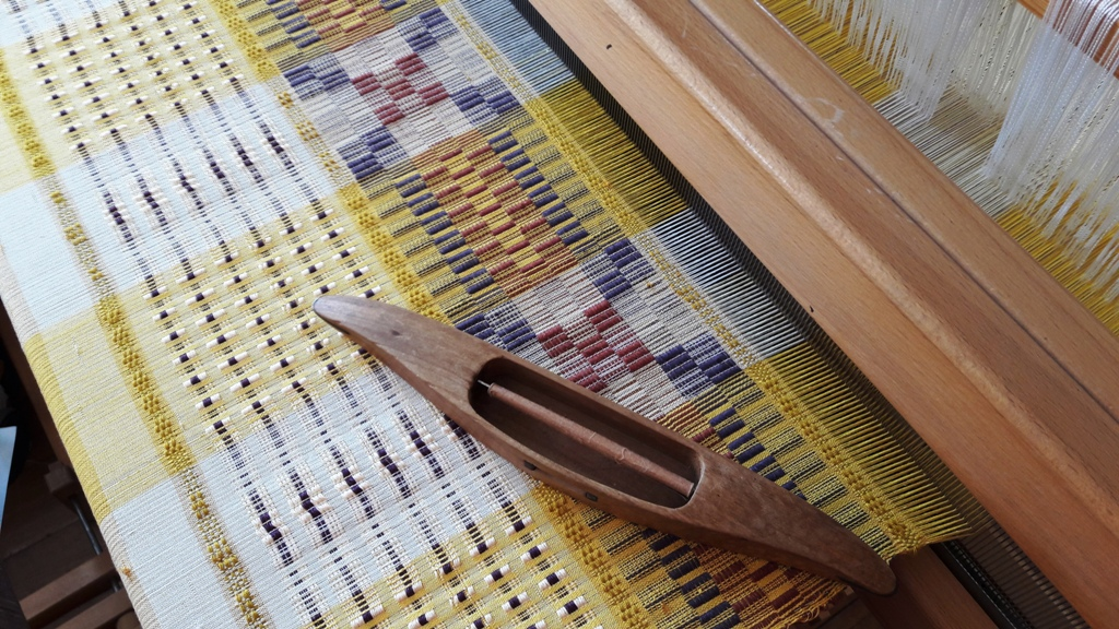 Sampling on one of the studio looms for a wall hanging