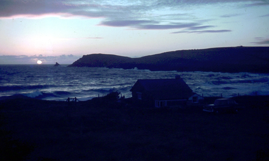 View of Parsons Hut at night with Trevose Head behind (1960's)