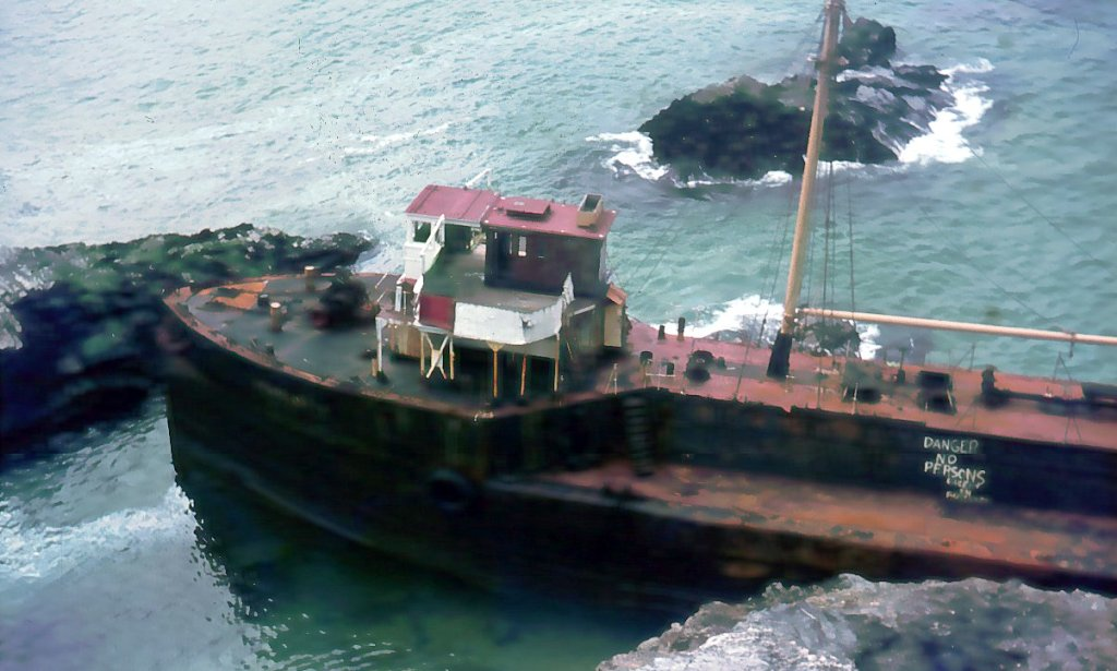 SS Hemsley 1 wrecked off Fox Cove, near Trevose Head in 1969 (c) Madeleine Jude 2017