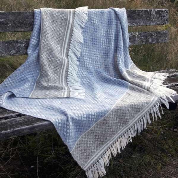 Handwoven Blanket Shawl - Hardanger Diamonds in blue