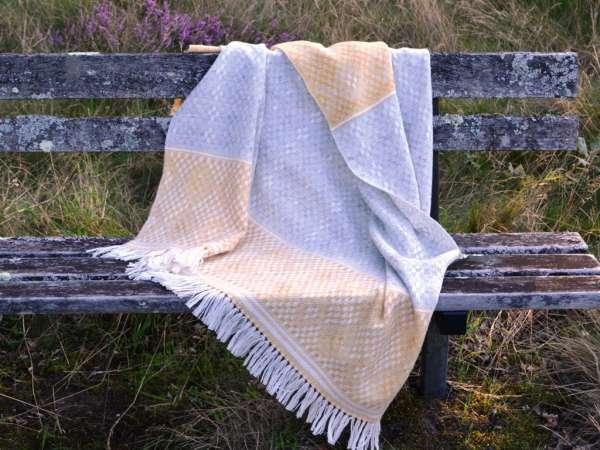 Blanket Shawl - Hardanger Crosses in grey and saffron
