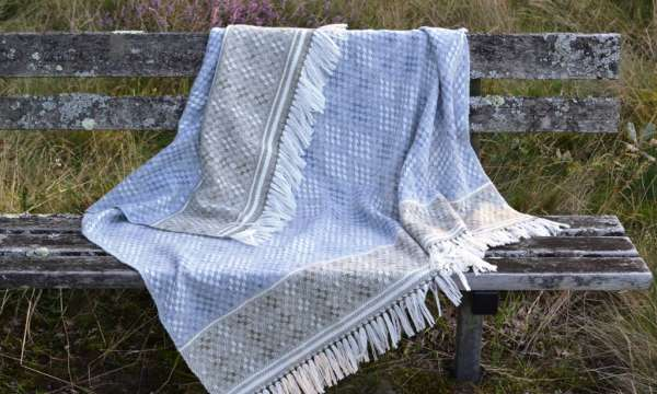 Handwoven Blanket Shawl - Hardanger Diamonds in blue