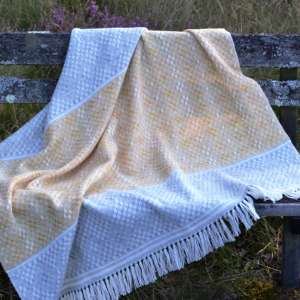 Blanket Shawl - Hardanger Crosses in saffron and grey