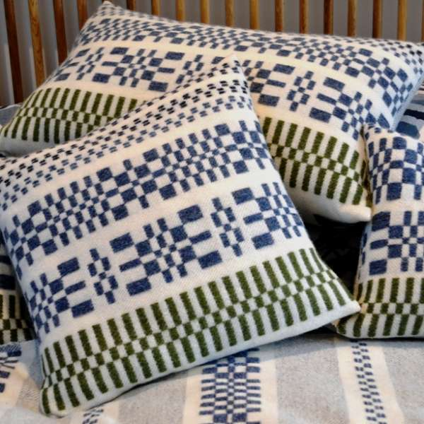 Handwoven lambswool monksbelt cushions and throw