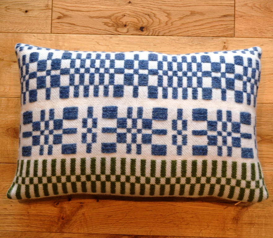 monksbelt cushions in natural white indigo and green small rectangle 30cm x 50cm