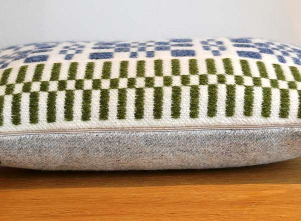 Side view - handwoven monksbelt cushion