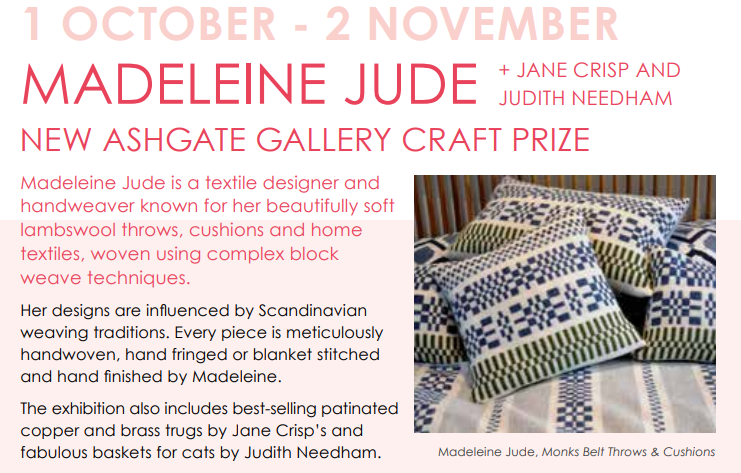 New Ashgate Gallery Craft Prize Exhibition – 1 October to 2 November 2019